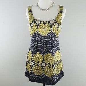 CAbi 100% silk sleeveless top grapes and  chains